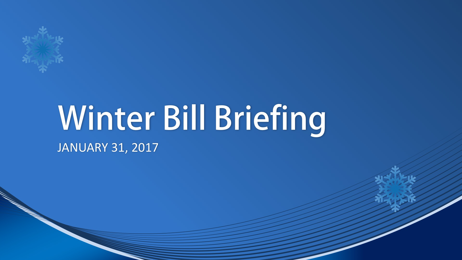 Winter Bill Briefing for Mason PUD 3 Commission