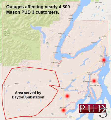 UPDATE: Nearly 4,800 Mason PUD 3 Customers without Power in